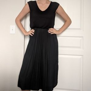 Black Midi Cap Sleeve Dress